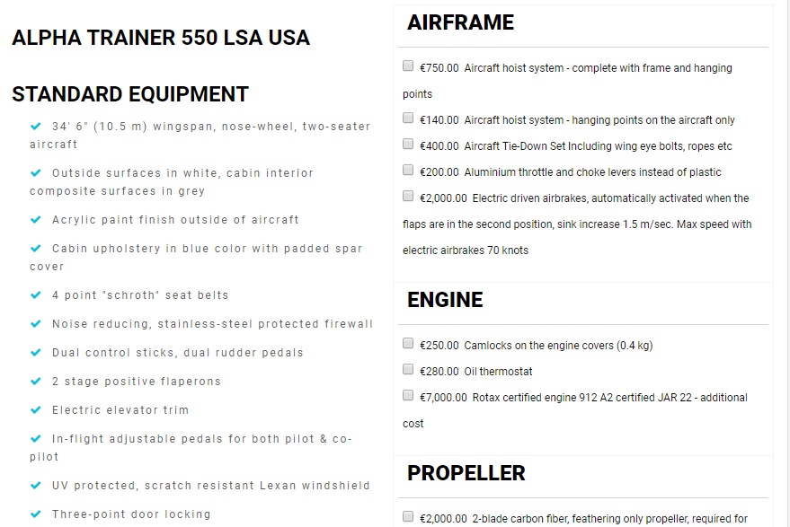 Pipistrel aircraft Prices screenshot of configuration page 1